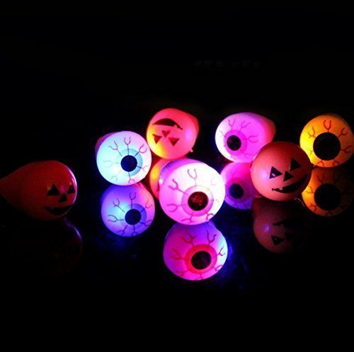 Uchic 12Pcs Fashion Unisex Led Light Eyeball Pumpkin Luminous Flash Ring Halloween Jewelry Random Pattern