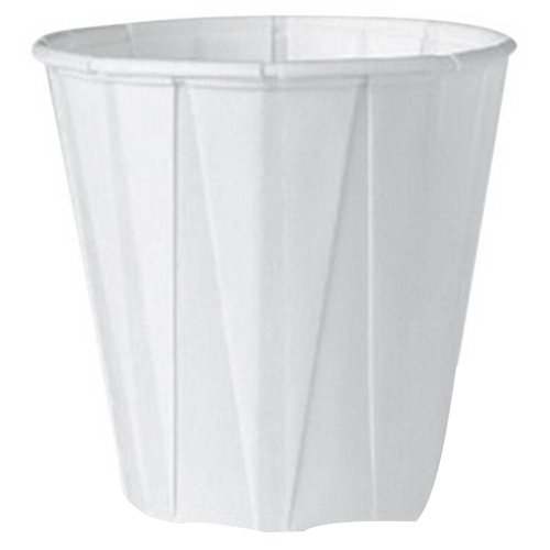 Genpak F400 Squat Paper Portion Cup, Pleated, 4 oz, White (Case of 5000) by Genpak