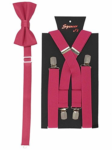 Spencer J's Men's X Back Suspenders & Bowtie Set Variety of Colors (Hot Pink) ()