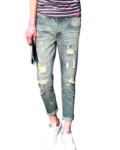 Matita En Hole Jeans A Haidean Pantaloni Blau Retro Distrutti Slim Moderna Stretch Denim Uomo Casual 4Xxwv