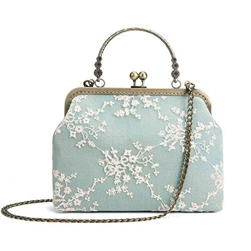 Rejolly Women Vintage Kiss Lock Evening Purse Top Handle Handbag Lace Crossbody Shoulder Clutch Bag with Chain Strap - Antique Womens Handbag