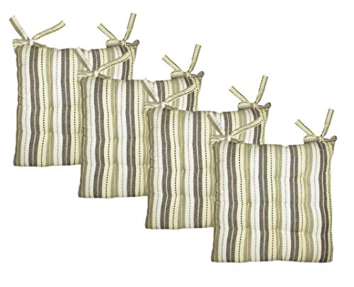 - Cotton Craft - 4 Pack Natural Light Olive Salsa Stripe Dining Chair Pad Cushion with Ties