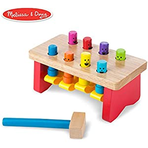 Melissa & Doug Deluxe Pounding Bench Wooden Toy with Mallet (Developmental Toy, Helps Fine Motor Skills)