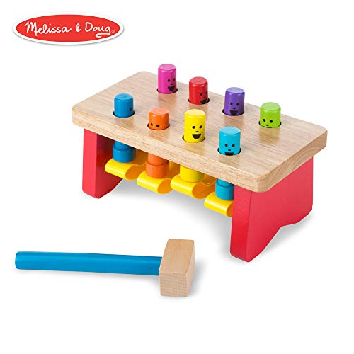 (Melissa & Doug Deluxe Pounding Bench Wooden Toy with Mallet (Developmental Toy, Helps Fine Motor)
