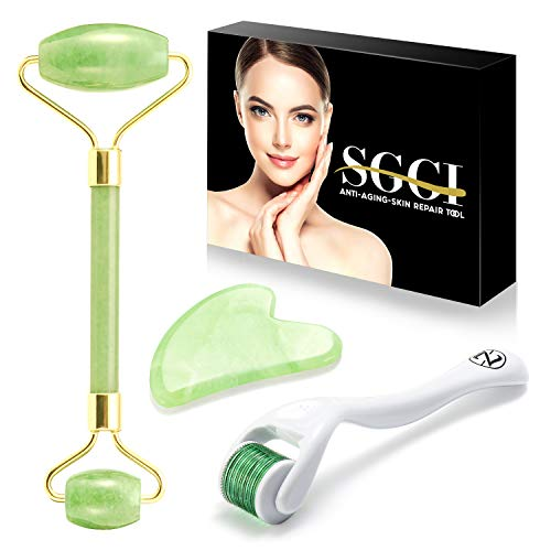 SGGI Jade Roller for Face-3 in 1 Beauty Kit Facial Roller and Gua Sha 100% Real Natural Jade Stone Body Roller Anti Aging - Face Beauty Set Facial Skin Massager Roller for Body Eyes Neck ()