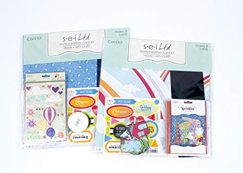 (Card Making Kit Pack - Two Kits with Complete Instructions to Make 16 Hand Made Congratulation and Encouragement Greeting Cards )
