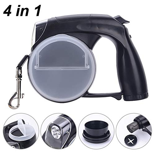 15 Foot Retractable Dog Leash - Petouch 4 in 1 Retractable Dog Leash with Waste Bag Dispenser/Detachable Water Bowl/LED Flash Light, 15 ft Dog Walking Leash for Small Medium Large Dogs up to 77lbs, One-Handed Brake, Pause, Lock