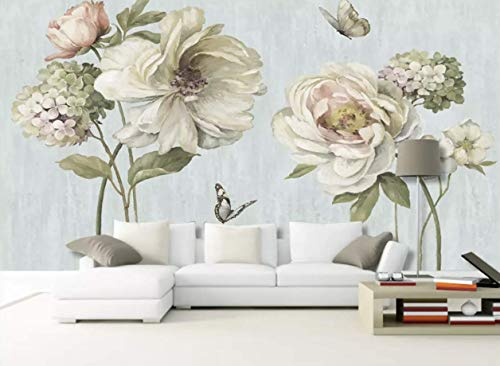 Murwall Peony Floral Wallpaper Watercolor Flower Wall Murals Vintage Hydrangeas Wall Painting Retro Home Decor Living Room Cafe Design