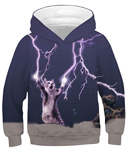GLUDEAR Children Unisex 3D Novelty Digital Printed Pullover Hooded Hoodie Sweatshirt,Lightning Cat,11-13 Years ()