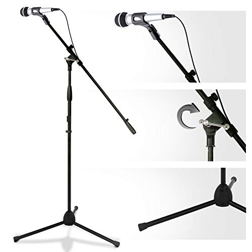 Multimedia iPad and Microphone Stand - Universal mic Holder Adjustable Extender Bar and Multi-Mount Boom Clip W/Universal Tablet or Ipad Griper Starter Kit - Sturdy and Durable - Pyle PMKSPAD1.5