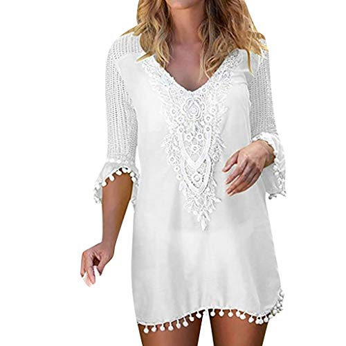 (Alangbudu Women's Deep V Neck Crochet Chiffon Tassel Swimsuit Bikini Pom Pom Trim Swimwear Beach Cover Up Shift Dress White )