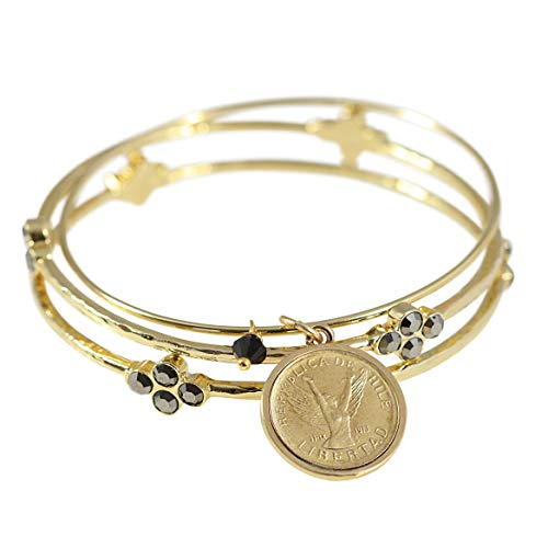 Angel Coin Bangle Bracelet Set