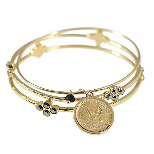 (Angel Coin Bangle Bracelet Set)