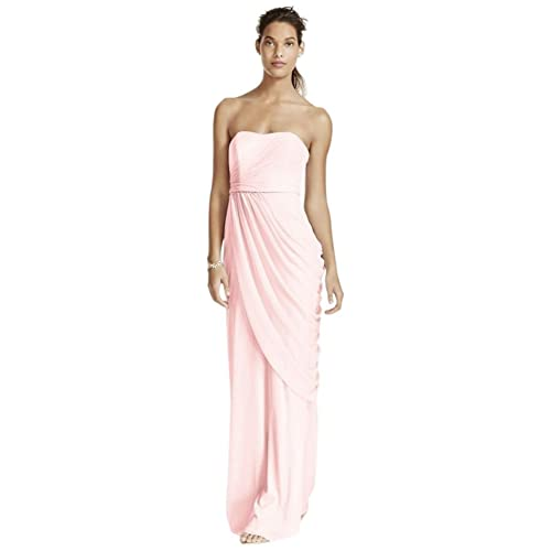 Davids Bridal Long Strapless Mesh Bridesmaid Dress with Side Draping Style W10482