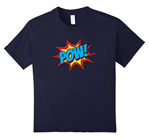 [Kids Comic Book Pow Shirt Funny Retro Superhero Costume 12 Navy] (Vintage Comic Book Girl Costume)
