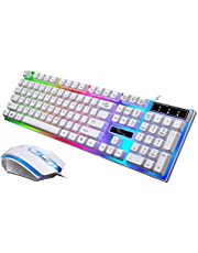 Uonlytech LED Backlit Gaming Keyboard and Mouse USB Mechanical Keyboard Gamer Mouse Sets (White)
