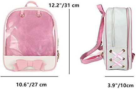 Ita Bag Backpack with Bowknot Design Pins Display Transparent Window Daypack Satchel
