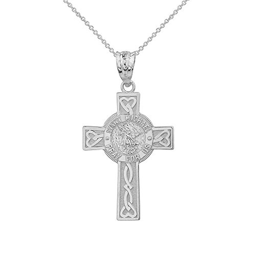 Solid 10k White Gold Saint Michael Pray For Us Words Celtic Cross Necklace (1.6