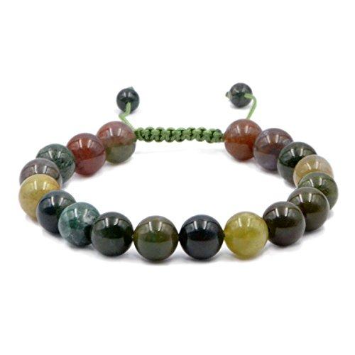 Agate Stones Bead Healing Bracelet - AD Beads Natural 10mm Gemstone Bracelets Healing Power Crystal Macrame Adjustable 7-9 Inch (Indian Agate)