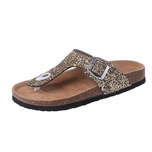(fereshte Women's Slide Sandals Beach Thong Flipflops Slip-on Clogs Sequin Gold EU44)