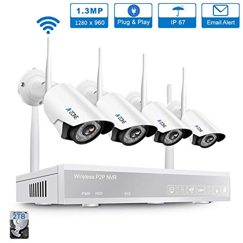 Component Hd Video Ready - A-ZONE Security Camera System Wireless, Full HD 4CH 1080P Video Security System with 2TB Hard Drive, 4Pcs 1080P Indoor Outdoor Wireless IP Cameras, 65ft Night Vision,P2P, Easy Remote View, 2TB HDD