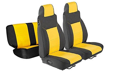 (GEARFLAG Neoprene Seat Cover Custom fits Jeep Wrangler TJ 2003-06 Full Set (Front + Rear Set) (Yellow/Black fs))