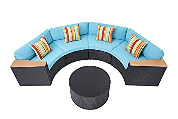 Incbruce Outdoor Sectional Sofa 5-Piece Half-Moon Patio Furniture Set All-Weather Garden Sofa W Round Tempered Glass Top Table, Turquoise Cushions and Colorful Pillows