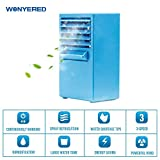 Wonyered Mini Portable Air Conditioner Fan 9.5-inch Personal Table Fan Small Quiet Desktop Fan Air Circulator Cooler Humidifier Blue