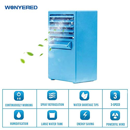 Wonyered Mini Portable Air Conditioner Fan 9.5-inch Personal Table Fan Small Quiet Desktop Fan Air Circulator Cooler Humidifier Blue by Wonyered