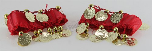 Red Bracelet Belly Dancing Cuff Coin Wrist Arm Ankle Costume 1Pairs Hip (Ethnic Cuff)
