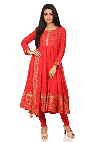 BIBA Women's Red Cotton Salwar Kameez Dupatta Size 38