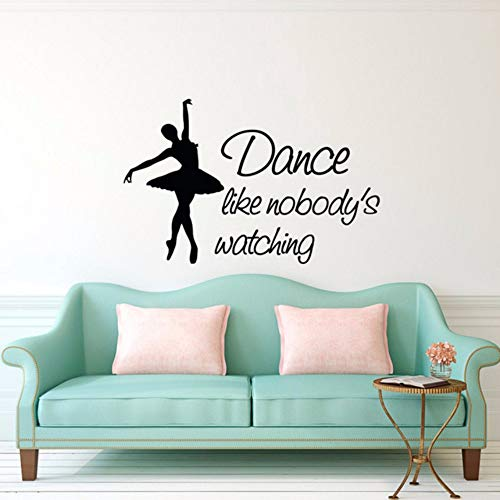 pbldb 42X65Cm Dance Like Nobody's Watching Quote Black Wall Decal Ballet Dancer Art Wall Sticker for Kids Room Decoration Girl Bedroom Decor ()