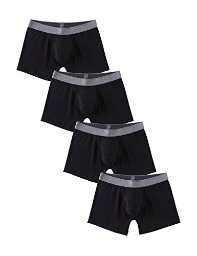Modal Ribbed (David Archy Men's 4 Pack Low Rise Ribbed Micro Modal Boxer Briefs (S, Black))