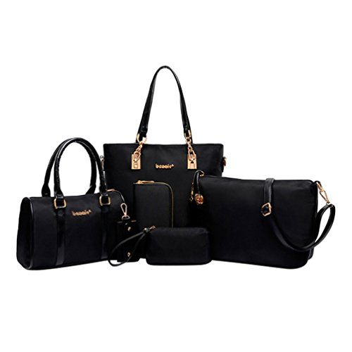 Key Set Nylon Kairuun Waterproof Bag Purse Solid Tote Women Piece Chain 6 Handbag Njblack Clutch Color Uqwp0Ur