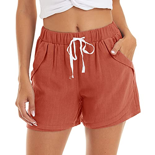 CRYSULLY Women's Casual Comfy Cotton Linen Shorts Summer Elastic Waist Lounge Beach Shorts with Pockets