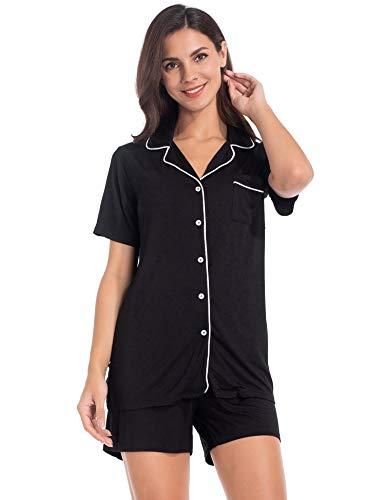 MANCYFIT Pajama Set for Women Button Down Shorts Set Short Sleeve Pjs Soft Sleepwear Black Large
