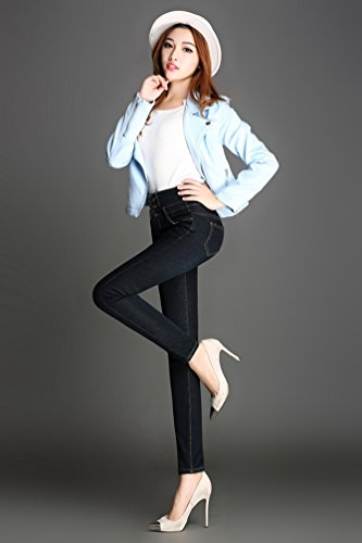Mujer Alta Jeggings Jeans Azul Jitong Cálido Skinny Vaqueros Denim Negro Forro Cintura Pantalones dqAwU8Agx
