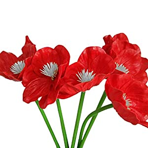 MARJON Flowers5Pcs/Lot Artificial Fake Poppy Silk Flower Bridal Wedding Party Home Decor (Red) 57