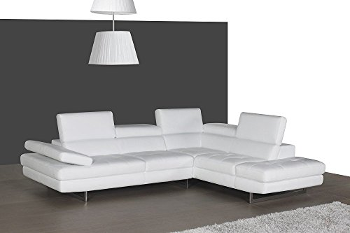 J and M Furniture 178551-RHFC A761 Italian Leather Sectional White