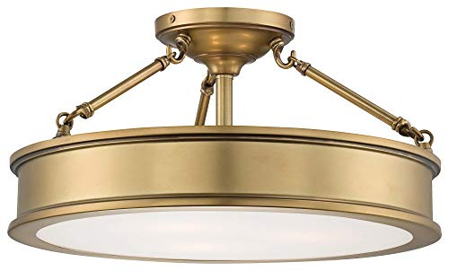 Minka Lavery 4177-249 Harbour Point - Three Light Semi-Flush Mount, Liberty Gold Finish with Clear/Sandblasting/White Glass