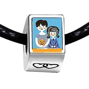 Chicforest Silver Plated boy and girl Jack O lantern pumpkin Photo Double Heart Charm Beads Fits Pandora Bracelets