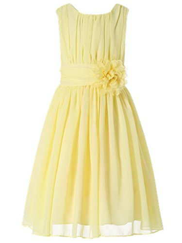 Pale Yellow Flower Girl Dresses (Bow Dream Little Girls Elegant Ruffle Chiffon Summer Flowers Girls Dresses Junior Bridesmaids Yellow)