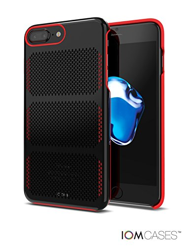 COOLMESH Extreme GT Aerospace Stainless Steel Case in Black with Red Trim for iPhone 8 plus, 7 plus, 6 plus. Award Winning Design. Sculpted Aerospace Metal.