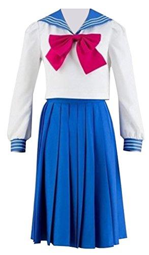 Yunbei Tsukino Usagi Mercury Cosplay Costume High School Uniform (XL, Blue)