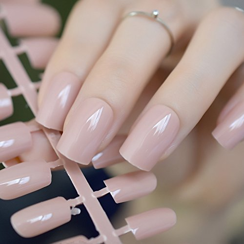 Shiny Nature False Nails Pure Nude Candy Color Medium Full Salon Fake Acrylic Nail Tips Decoration DIY Finger Faux Ongles 205M nude -