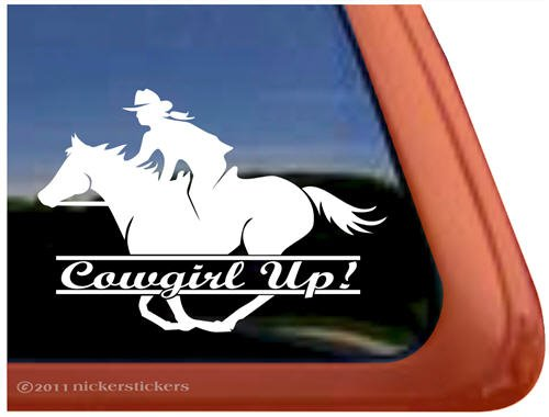 Cowgirl Up Vinyl Window Horse Trailer Decal Sticker - Cowgirl Decal Sticker