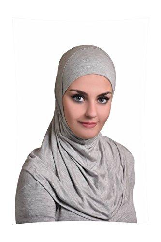 Grey Al Ameera Muslim Hijab Cotton Amira 2 piece Hood & Hijab Tube Underscarf Cap ()
