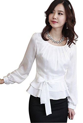 Pleated Tie Neck - DPO Women's Chiffon Pleated Slim Fit Long Sleeve Round Neck Blouse,White Tag Size: L, US Size: 8