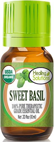 Organic Sweet Basil Essential Oil (100% Pure - USDA Certified Organic) Best Therapeutic Grade Essential Oil - 10ml ()