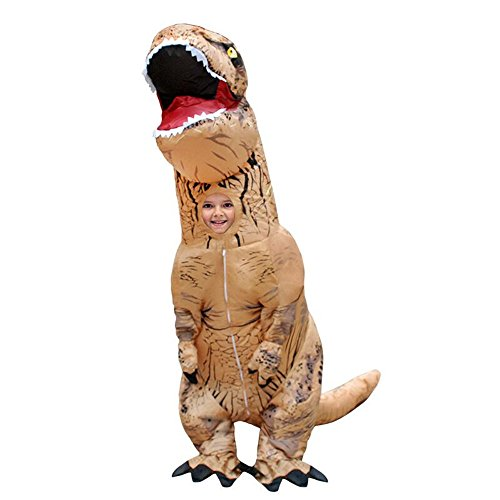 Halloween Fantasy (Davidamy's Gift Inflatable T-rex Dinosaur Halloween Suit Cosplay Fantasy Costume For Children Kids From 1.2m To 1.45m (Brown))